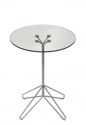 Glas Tisch verchromt, Tisch Glasplatte Gestell Silber, Bistrotisch Glas, Durchmesser 60 cm