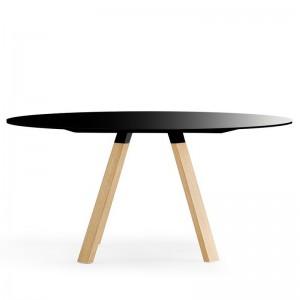 Tisch schwarz rund , Esstisch rund schwarz, Konferenztisch rund schwarz, Durchmesser 139 cm