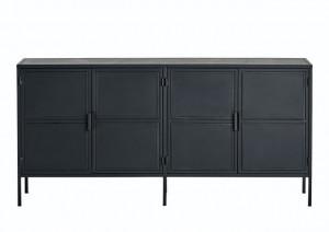 Sideboard schwarz, Sideboard Metall schwarz, Schrank schwarz Industriedesign, Anrichte Metall schwarz,  Breite 175 cm