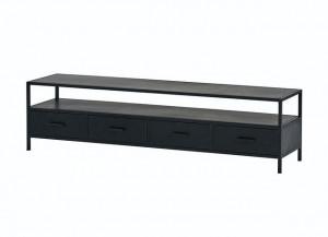 TV Lowbaord schwarz, Fernsehschrank Metall schwarz, TV Regal schwarz, Schrank schwarz Industriedesign,  Breite 175 cm