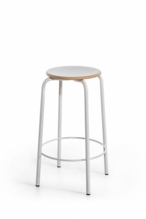 Barstuhl weiß Metall-Gestell, Barhocker weiß Metall, Sitzhöhe 65 cm