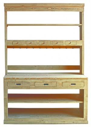 Geschirrschrank Landhaus, Küchenschrank  Massivholz in vier Farben, Breite 155 cm