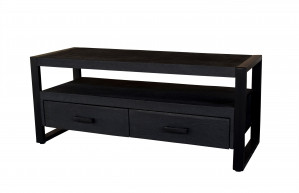 TV Schrank schwarz, TV Regal schwarz, Lowbaord schwarz Industrie, Fernsehschrank schwarz, Breite 120 cm