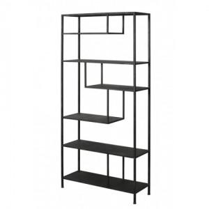 Metall Regal schwarz Industriedesign, Bücherregal Metall schwarz, Breite 100 cm