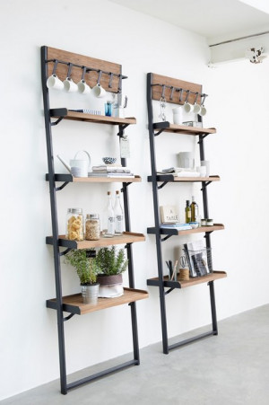 Wandregal Industriedesign, Regal Industrie Holz Metall, Bücherregal Industriedesign Metall, Breite 70 cm
