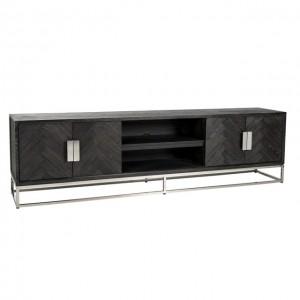 TV Schrank schwarz, Fernsehschrank verchromt schwarz, Lowboard schwarz,  Breite 220 cm