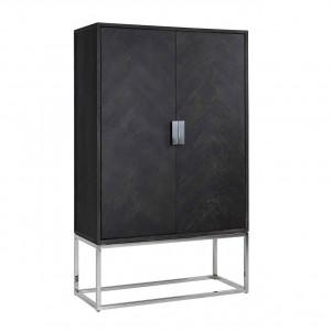 Schrank braun-schwarz, Aktenschrank schwarz, Bücherschrank schwarz, Breite 108 cm