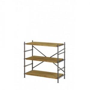Regal Metall-Holz, Bücherregal Industriedesign Metall, Metall Regal, Breite 100 cm