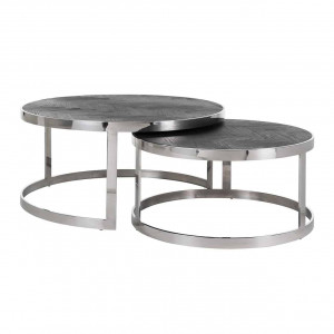 Couchtisch rund braun-schwarz, runder Couchtisch Silber schwarz, 2er Set Couchtisch verchromt, Durchmesser 74-91 cm