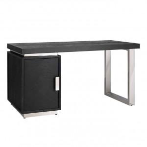 Schreibtisch braun-schwarz, Tisch verchromt schwarz, Schreibtisch verchromt, Breite 150 cm