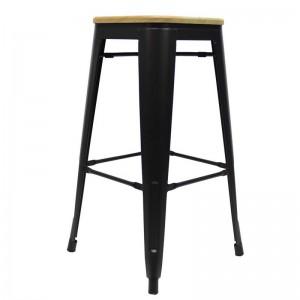 Metall-Hocker schwarz Holz Sitzfläche, Barhocker Industriedesign schwarz, Sitzhöhe 76 cm