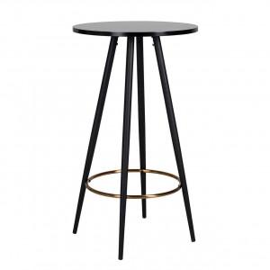 Stehtisch rund schwarz, Bartisch schwarz, runder Stehtisch schwarz-Gold, Durchmesser 60 cm