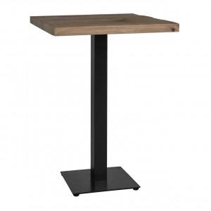 Stehtisch Eiche massiv Tischplatte, Stehtisch schwarz, Bartisch schwarz, Maße: 70x70 cm