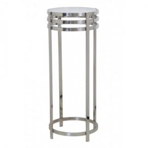 Dekosäule Silber Metall, Säule Metall Silber, Beistelltisch rund Metall,  Durchmesser 40 cm