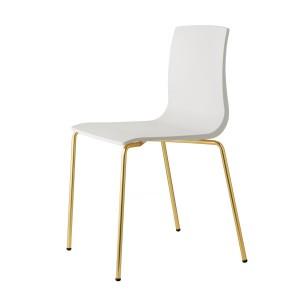 Stuhl Gold Gestell, Stuhl stapelbar Gold, Design Stuhl weiß Gold