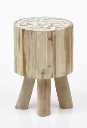 Hocker Holz, Holz Hocker rund, Beistelltisch rund Holz