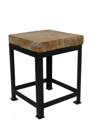 Hocker Metall Holz, Holz Hocker Teak, Beistelltisch quadratisch Holz Metall