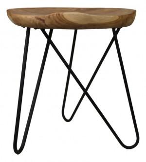 Hocker Metall Holz, Holz Hocker Teak, Beistelltisch rund Holz Metall