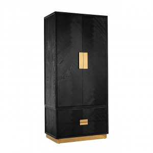 Schrank braun-schwarz Griffe Gold, Kleiderschrank Gold braun-schwarz Eiche furniert, Breite 100 cm
