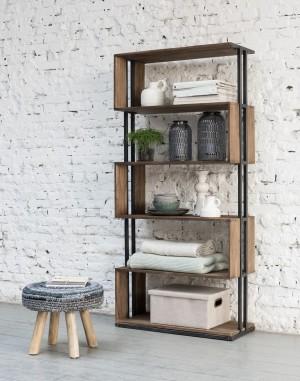 Regal Industrie, Bücherregal Metall Holz, Breite 81 cm
