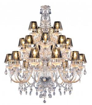 Kronleuchter 24-armig,  Kronleuchter mit Lampenschirmen Silber,  Durchmesser 110 cm