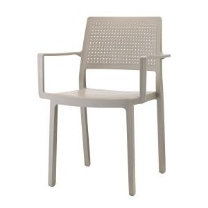 Stuhl mit Armlehne, Indoor, Outdoor, taubengrau, aus Kunststoff, Stapelbar