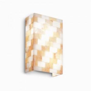 Wandleuchte Alabaster weiß gold/ braun