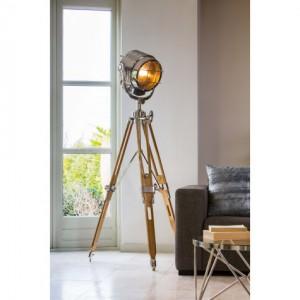 Stehleuchte Projektor, Stehlampe Holz-Chrome