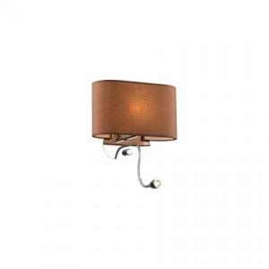 Wandleuchte Metall chrom, Stoff braun, modern + Leseleuchte LED