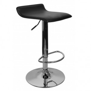 Barhocker schwarz Edelstahl, Barstuhl Farbe Silbern-schwarz höhenverstellbar