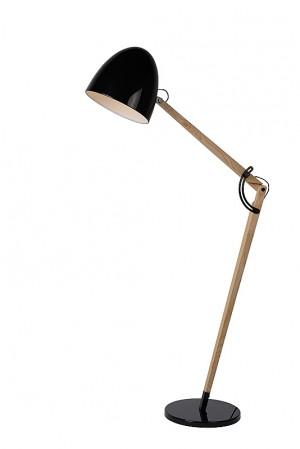 Stehleuchte Holz / Schwarz, Stehlampe Holz / Schwarz, Höhe 176