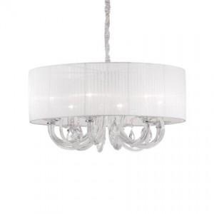 Pendelleuchte Metall, Glas transparent, Organza weiß, Samt grau