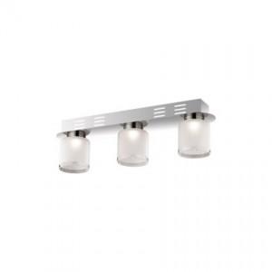 Deckenleuchte Metall chrom, Glas transparent weiß, modern, LED