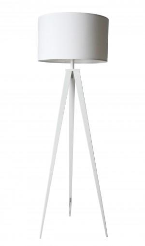 Moderne Stehleuchte aus Textil, Metall in weiß, modern