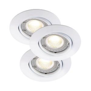 LED Moderne Deckeneinbauleuchte, Farbe weiß, dimmbar, Ø 9 cm, 3-er SET