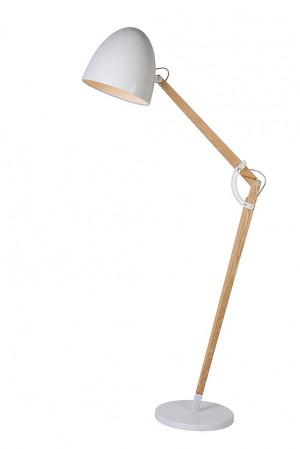 Stehleuchte Holz / Weiß, Stehlampe Holz / Weiß, Höhe 176