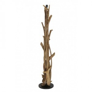Lampenfuß braun antik für eine Stehlampe, Stehleuchte aus Holz, Höhe 180 cm